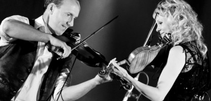 Natalie MacMaster and her husband Donnell Leahy(L)  perform for a sellout crowd at the Richmond fairgrounds.