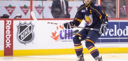 Barrie Colts defenceman and captain, Aaron Ekblad (5), selected first over-all in the 2014 NHL Draft by the Florida Panthers.