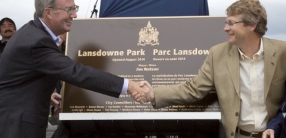 Ottawa Mayor Jim Watson and Capital Ward Coun. David Chernushenko officially open Lansdowne Park.