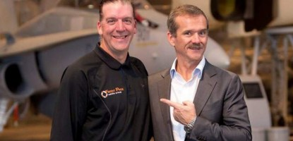 Leon Switzer of Front Page Media Group & Chris Hadfield.