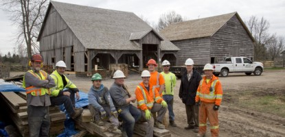 The Upper Canada Village Team pose with The CDS Team after the successful preservation of the historic barn.