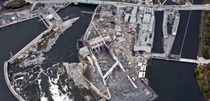 Work in full swing at Hydro Ottawa's Chaudiere Falls facility.