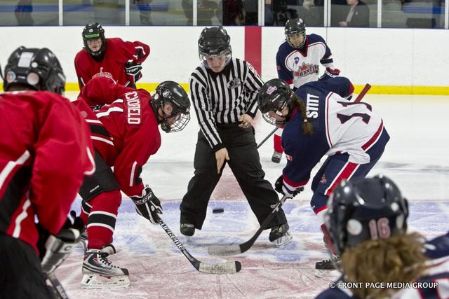 The Capital City Condors face-off against the Kanata Rangers Bantam AA Girls.